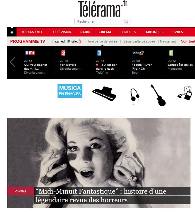Midi-Minuit Fantastique Intégrale Vol.1, dans Télérama, juillet 2014