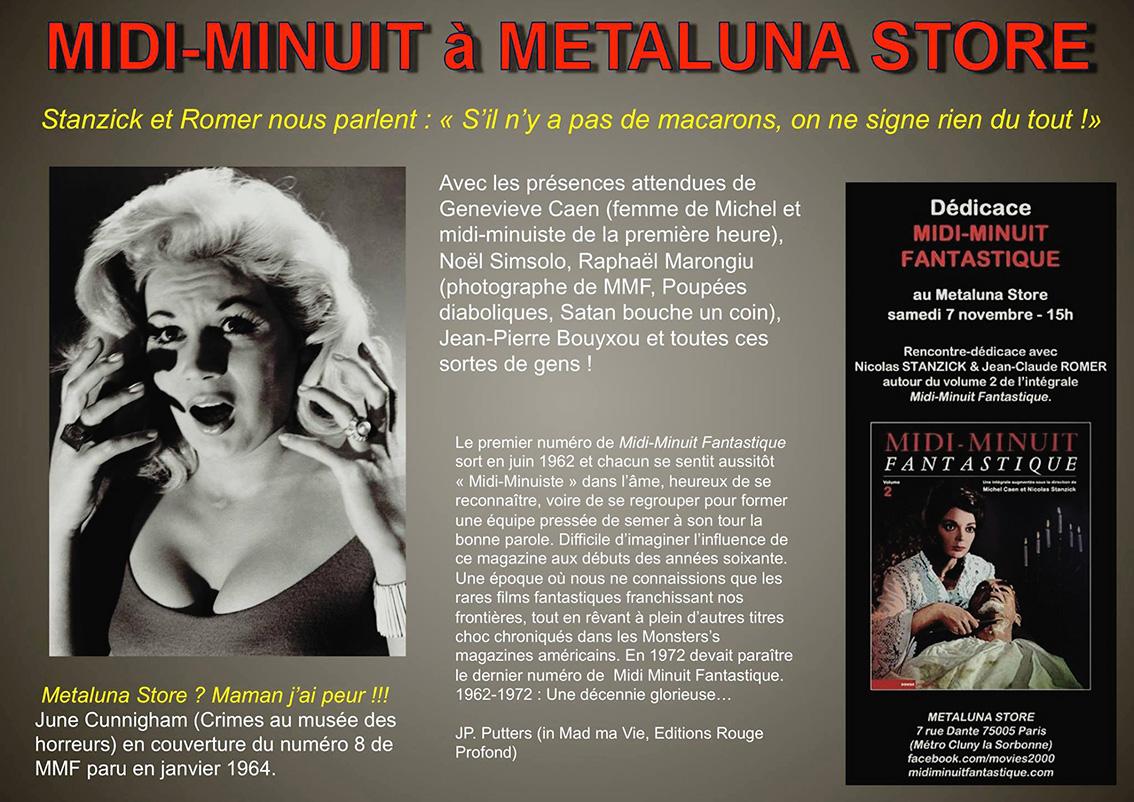 Signature Midi-Minuit Fantastique, le 7 novembre, à Metaluna avec Nicolas Stanzick et Jean-Claude Romer